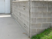 A retaining wall separating from the adjoining walls in Centerville