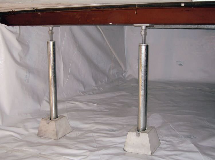 Crawl Space Jack Posts Installed In An Encapsulated Crawl Space In  Clearfield