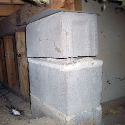 Collapsing crawl space support pillars Spanish Fork