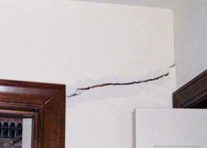 A large drywall crack in an interior wall in West Jordan