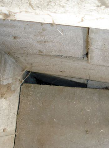 inward rotation of a foundation wall damaged by street creep in a garage in Lehi