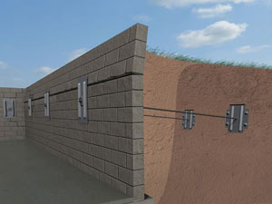 A graphic illustration of a foundation wall system installed in Pleasant Grove