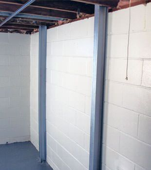 A PowerBrace™ i-beam foundation wall repair system in Salt Lake City