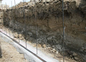 Soil layers exposed while excavating to construct a new foundation in Layton