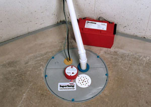 A sump pump system with a battery backup system installed in Pleasant Grove