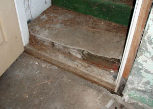 A flooded basement in Kaysville where water entered through the hatchway door