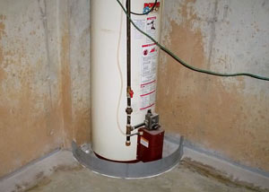 A water heater in Riverton that's been protected by the FloodRing® and a perimeter drain system.