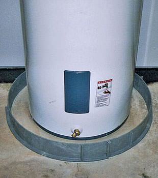 An old water heater in Kaysville, UT with flood protection installed