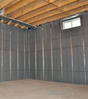 Installed basement wall panels installed in Sandy