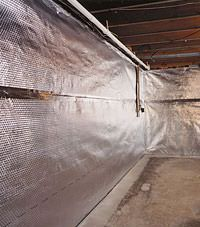 Radiant heat barrier and vapor barrier for finished basement walls in Orem, Utah
